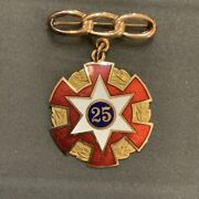 Masonic Pin Medal 25 Enameled White And Red. Pin Has Not Been Tested For Au