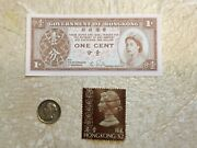 Hong Kong 1891 Coin 10 Cents Silver Banknote Unc 1 Cent 1961 Stamp 2 Lot