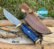 Custom Hand Forged Damascus Steel Knife Hunting W/ Wood And Brass Guard Handle