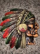 Vintage Native American Indian Chief Head Chalkware Profile Wall Hanging