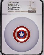 Fiji 2016 2 Oz 75th Anniversary Captain America Shield Colorized Proof .999 Pf70