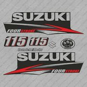 Suzuki 115hp Four Stroke Outboard Engine Decals Sticker Set Reproduction 115 Hp