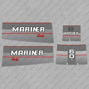 Mariner 60hp Sixty Two Stroke Outboard Engine Decals Sticker Set Reproduction
