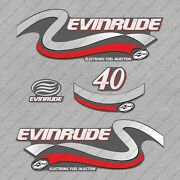 Evinrude 40 Hp Four Stroke Outboard Engine Decals Sticker Set Reproduction 40hp