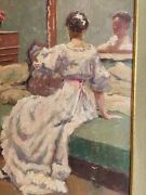 Impressionistic Painting Frans Smeers 1873-1960 The Lady In Front Of The Mirror