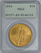 1924 20 Saint Gaudens Gold Double Eagle Pcgs Graded Ms 62 Rattler Ogh