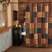 New Primitive Country Farmhouse Quilted Americana Patriotic Patch Shower Curtain