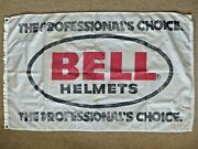 Vintage Bell Helmets Race Advertising Flag Banner--motorcycle Bmx Auto Racing