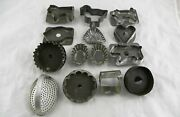 Lot Of 14 Vintage Tin Metal Cookie Biscuit Donut Cutters And Candy Molds