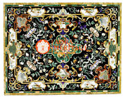 Black Marble Center Conference Table Top Inlay Floral Hallway Outdoor Arts E1601