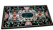 Cottage Handcrafted Black Dining Table Marble Lawn Table Size 24 X 48 Inches