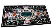 30 X 60 Inches Marble Kitchen Table Top Black Dining Table With Exclusive Design