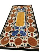 30 X 60 Inches Marble Garden Table Top Inlay Dining Table With Exclusive Design