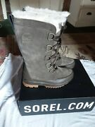 Brown And Taupe/ Grey Leather And Suede Sorel Mid Calf Boots Size 5waterproof