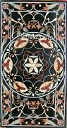 30 X 60 Inches Marble Sofa Table Top Black Dining Table Inlay With Vintage Art