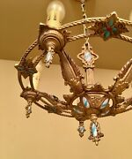 Vintage Lighting 1920s Polychrome Chandelier. Blue Accents Rewired