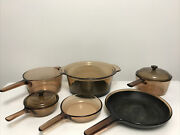 Vintage Pyrex Visions Amber Cookware 8 Pieces
