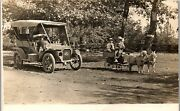 Reo Car Owner 1906 With Goat Wagon And Two Boys Meridian Id Vintage Postcard Rr1