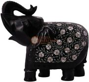 10 Black Collectible Elephant Statue Mop Inlay Fine Floral Art Veterans Gifts
