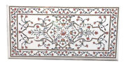4and039x2and039 White Marble Dining Large Table Top Marquetry Inlay Christmas Decor H4336