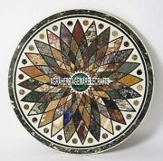 White Marble End Living Room Table Mosaic Floral Inlaid Arts Patio Decor H3967