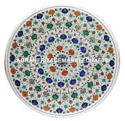 36 White Marble Dining Room Table Malachite Inlaid Mosaic Kitchen Decor H2947
