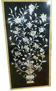 30 X 60 Inch Black Wall Panel Rectangle Dining Table With Mother Of Pearl Stones