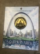 Solid Brass Gateway Arch Commemorative Coin W/thomas Jefferson On Back