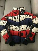 Moncler Grenoble Limmat All Over Print Logo Down Jacket Size 2 M Black Red
