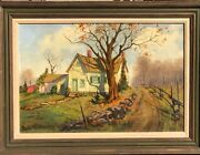 August Curley Lenox American Listed Artist Country Road Landscape Painting
