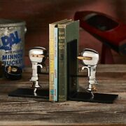 Set Of 1950and039s Replica Toy Boat Motor Bookends In Polished Aluminum W/iron Plates