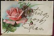 Greetings From Ohio Vintage Postcard Flowers Roses Purple Poppies Hand Written