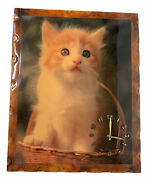Vintage Lacquered Wood Clock White Yellow Cat Kitten Large Wall Clock 18 X 22