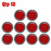 Qty-10 4 Red Round 24 Led Truck Trailer Stop Turn Tail Brake Lights W/ Rings