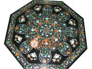 36 Black Marble Octagon Dining Table Top Marquetry Inlay Design Home Decor E840