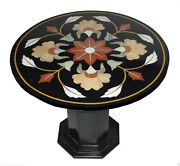 29 Black Marble Top Side Table Handmade Mosaic Home Decorative With Stand