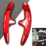 2x Real Carbon Fiber Steering Wheel Shift Paddle Extension Red For 11-14 Cayenne