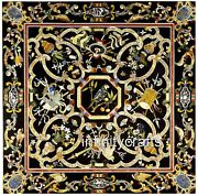 48 X 48 Inches Black Kitchen Table Top Marble Dining Table Cottage Art Inlaid
