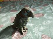 Circa 1920s Austrian Stand Up Parrot Ink Well Cold Paint Spelter Desk Top