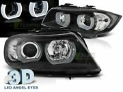 Halo Rims Projector Pair Of Headlights For Bmw E90/e91 2005-2008 3d U-type Black