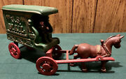 Vintage Cast Iron Red And Green United States Horse Drawn Mail Wagon With Driver