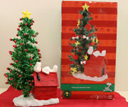 Department 56 Peanuts Snoopy Doghouse And Christmas Adven Tree And Ornaments