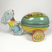 Vintage J. Chein And Co. Metal Litho Toy Bunny Rabbit Easter Egg Tin Cart And Egg