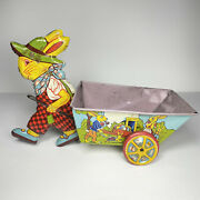 Vintage J. Chein Metal Easter Bunny Cart Pull Toy Usa Holiday Decorations