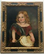 Large Antique Oil Painting Andldquogirl In Red Dressandrdquo Folk Style Art