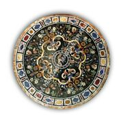 48 Round Marble Hallway Dining Table Top Scagliola Inlay Furniture Decor E1084a