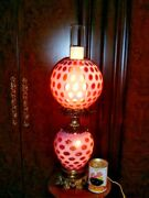 Fenton Old Cranberry Coin Dot Opalescent Lamp Gwtw Rare