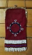 Vintage St. Thomas Red Leather Purse Beaded With Chain Handle Auction Find