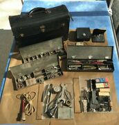 Vintage / Antique 1900and039s Telegraph Repairmanand039s Leather Bag W/bins Parts And Tools