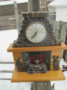 United Metal Goods Vintage Used Electric Clock Fireplace 402 For Parts As Is
